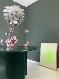 Green Neon Painting in the studio, Louis Poulsen Artichoke
