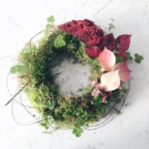moss wreath on marble