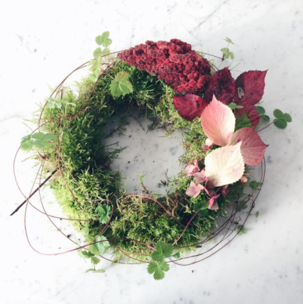 moss wreath on marble