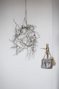 wild asparagus wreath & vintage purses