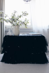 black table tutu DIY and white cherries