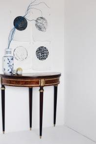 antique table and prints by Anastasia Benko