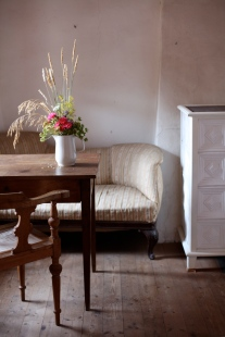 Italian antiques with summer bouquet