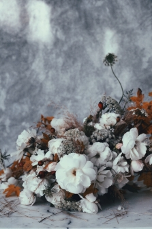 floral fall arrangement with white roses - vintage style