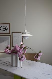 Cherry Blossom Season, Hanami at home, in Vitra Nuage Vase, Louis Poulsen PH5 Mini, Anastasia Benko Prints The Poster Club Collection