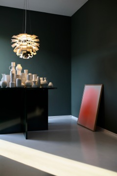 Red Neon Painting in the studio, Louis Poulsen Artichoke