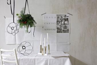 christmas chandelier concrete walls