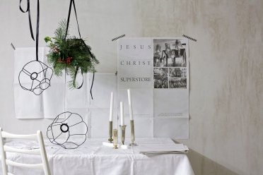 christmas chandelier concrete walls