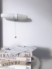 Vintage Wall Lamp by Wilhelm Wagenfeld - white ceramics and old books
