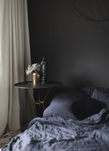 Moody bedroom painted with Farrow & Ball Tanner's Brown