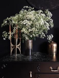 moody interiors with wild chervil and brass interior accessory via anastasiabenko.com