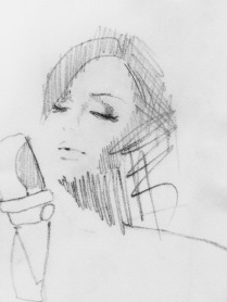 Illustration of Adele singing with microphone / artist Anastasia Benko