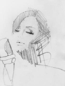 Illustration of Adele singing with microphone / artist Anastasia Benko