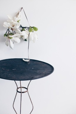 magnolia wallhanging and antique table / stylist Anastasia Benko