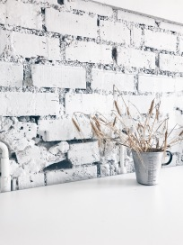 white brick wall - detail in a Bavarian kitchen