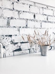 white brick wall - detail in a Bavarian kitchen