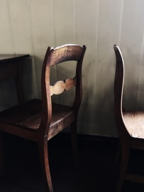 vintage chair details in a finish cottage