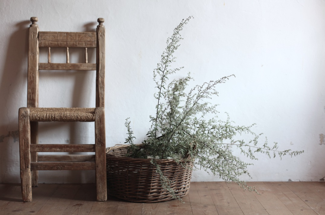 gathered grass and rustic chair
