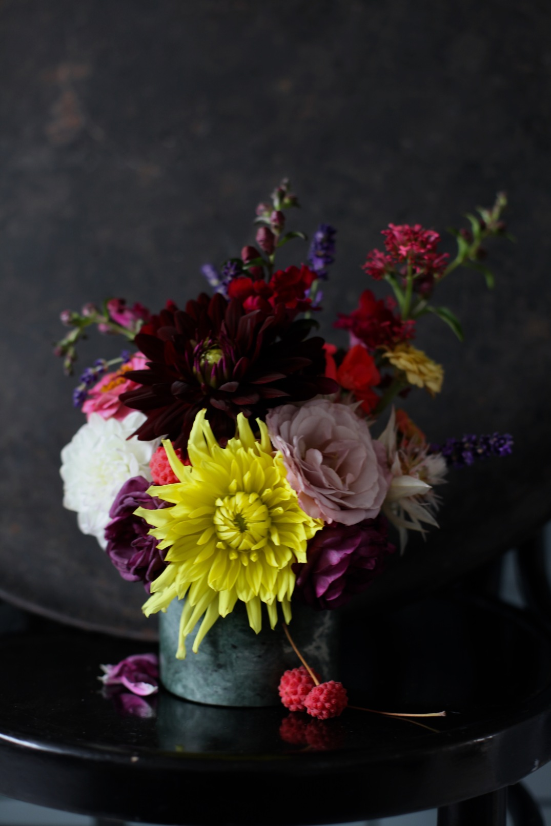 fall gatherings - dark dahlia bouquet