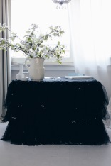 black table tutu DIY with white cherry blossoms
