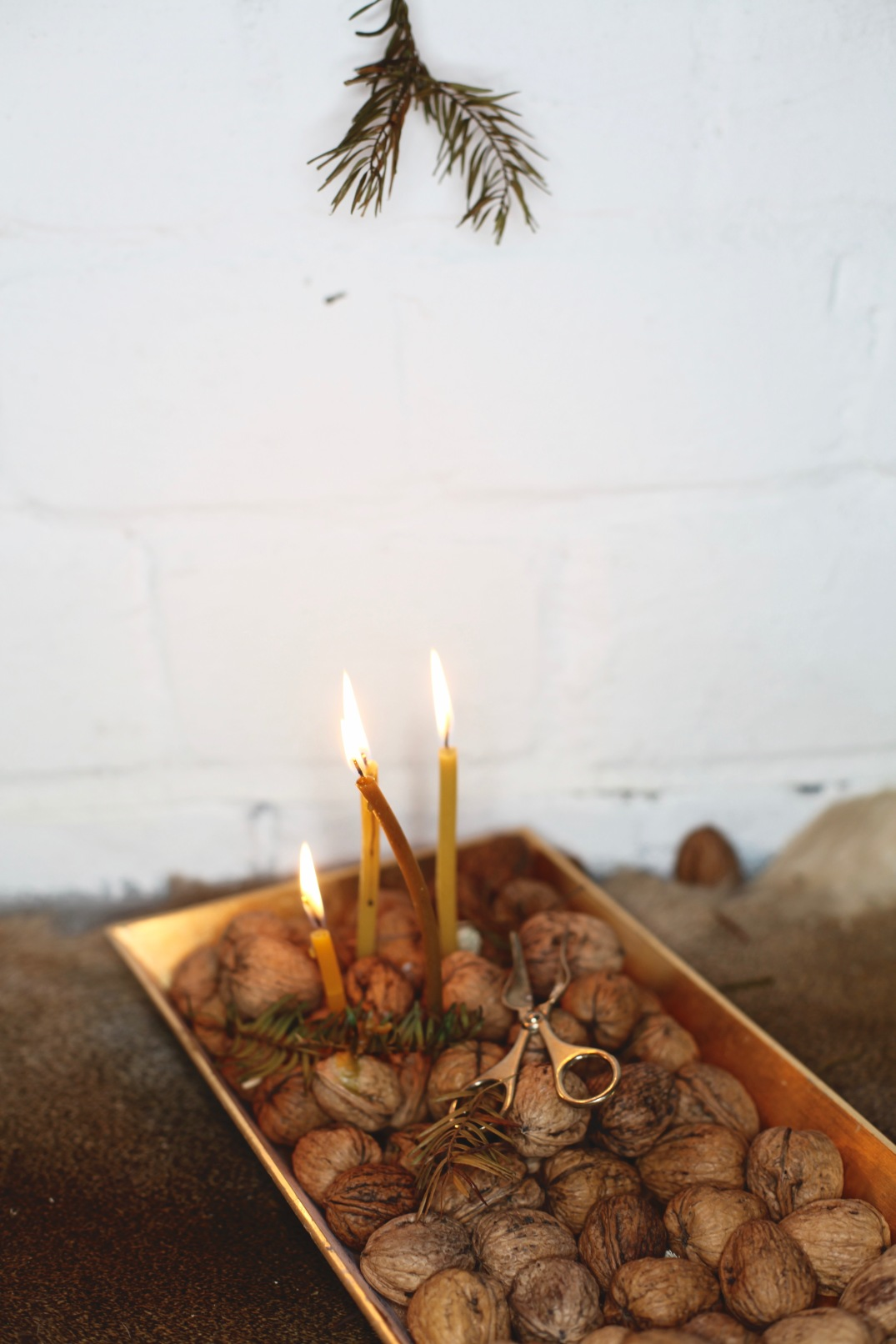 Centerpiece: Tray full of nuts with honey candles as a christmas decoration via Anastasia Benko