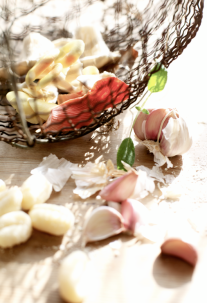 mushrooms in a vintage basket