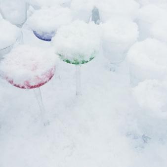 vintage glasses on a snowy flea market via anastasiabenko.com