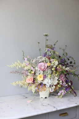 pastel summer flower arrangement with white hydrangea, roses, Queen Anne's lace, foxgloves, heuchera and everlasting pea // stylist Anastasia Benko