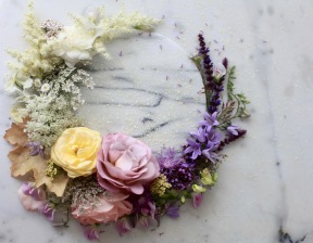 pastel summer flower wreath with white roses, pale roses, cornflowers, bellflowers, yarrow and Queen Anne's lace, foxgloves, heuchera // stylist Anastasia Benko