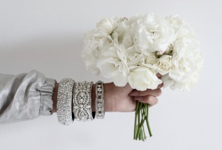 white roses, perfect wedding inspiration, diamond bracelets, nude nail polish