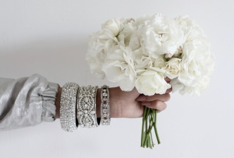 white roses, perfect wedding inspiration, diamond bracelets, nude nail polish