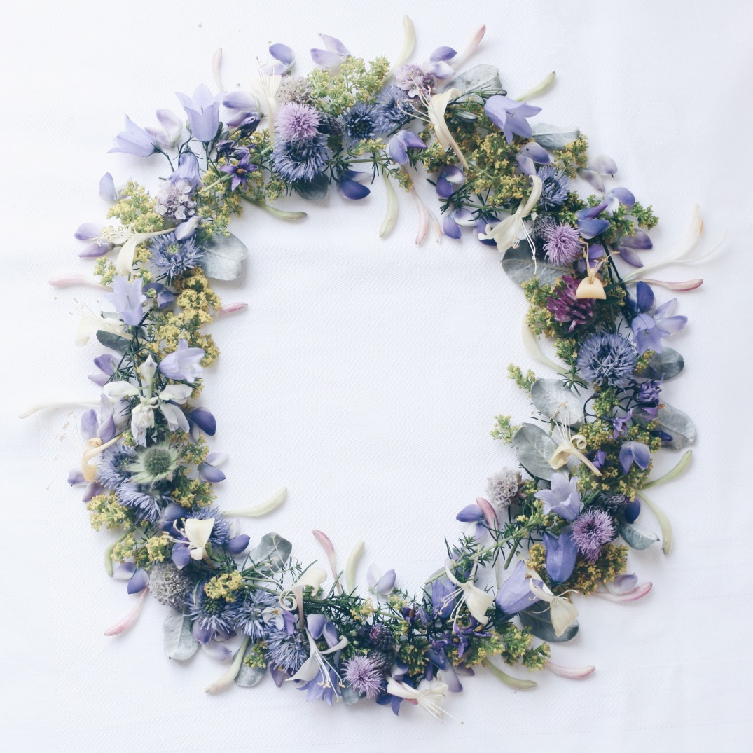 midsommer midsømmar wreath made with wild foraged flowers
