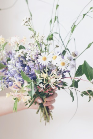 wild floral Arrangement with daisies, lupine