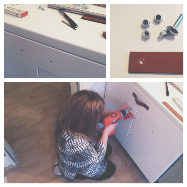 Leather handles kitchen DIY