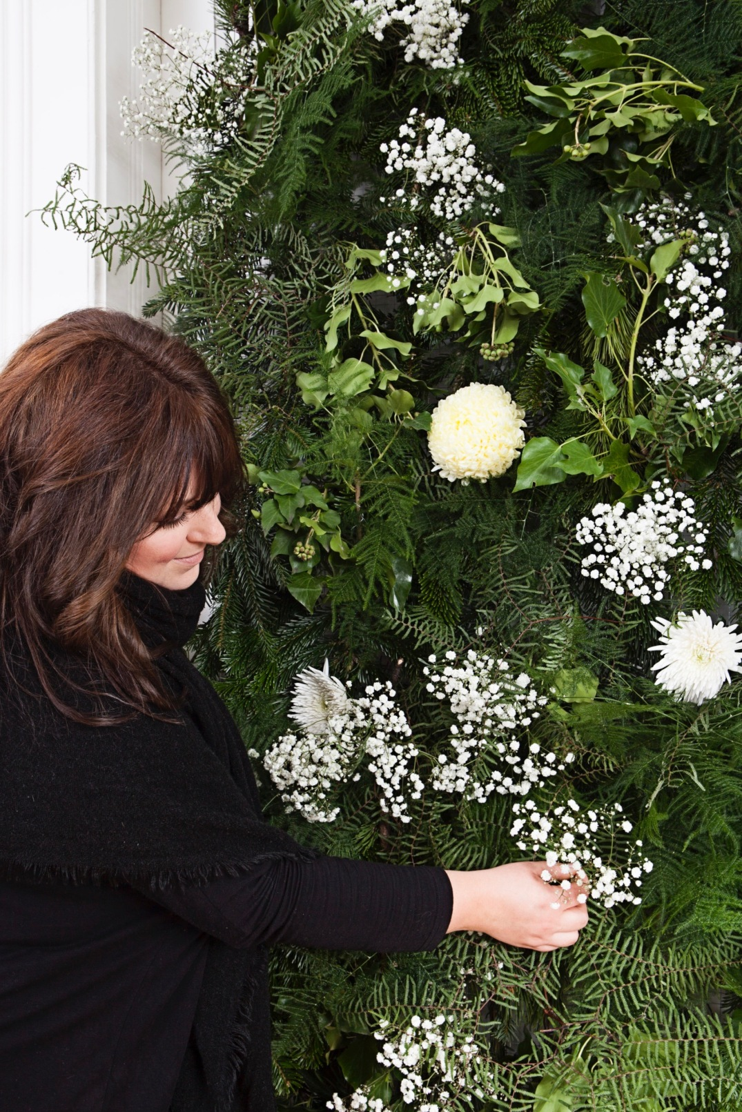 Christmas Flower Wall made of pine,fir & baby's breath