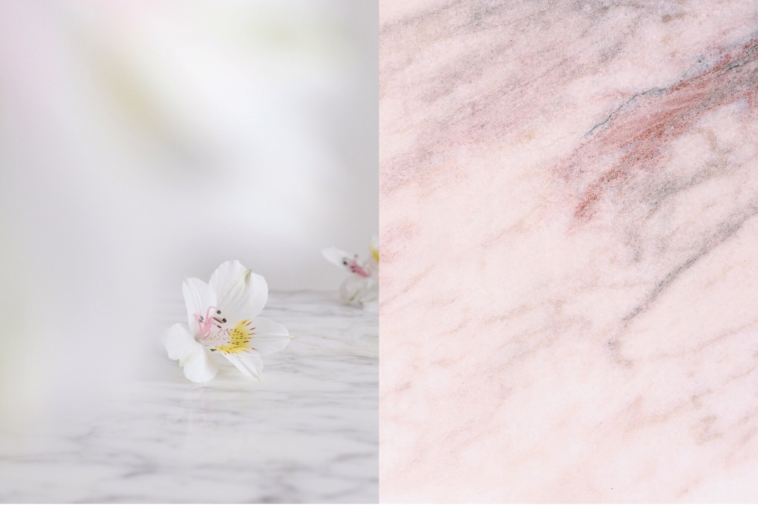 alstroemeria and pink marble
