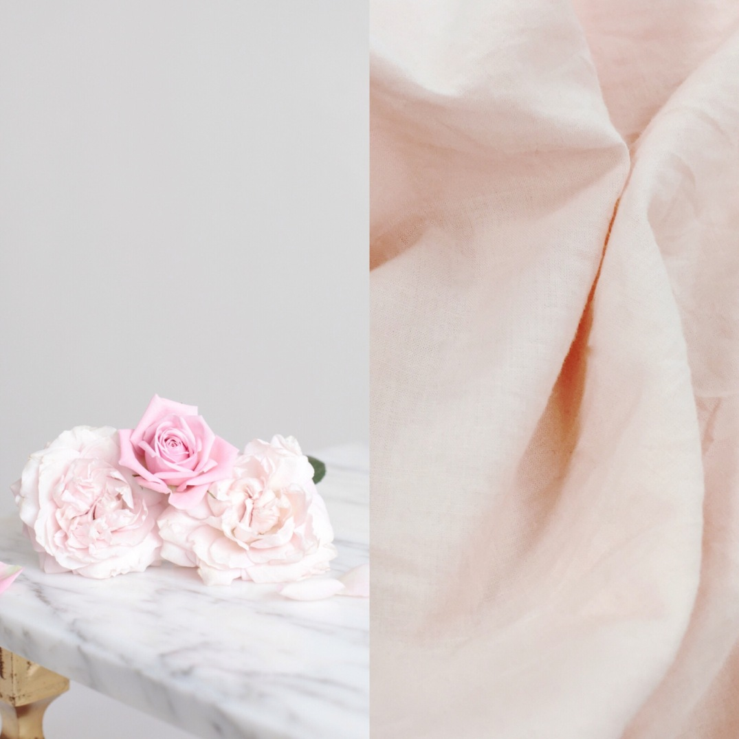 pink roses and blush linen