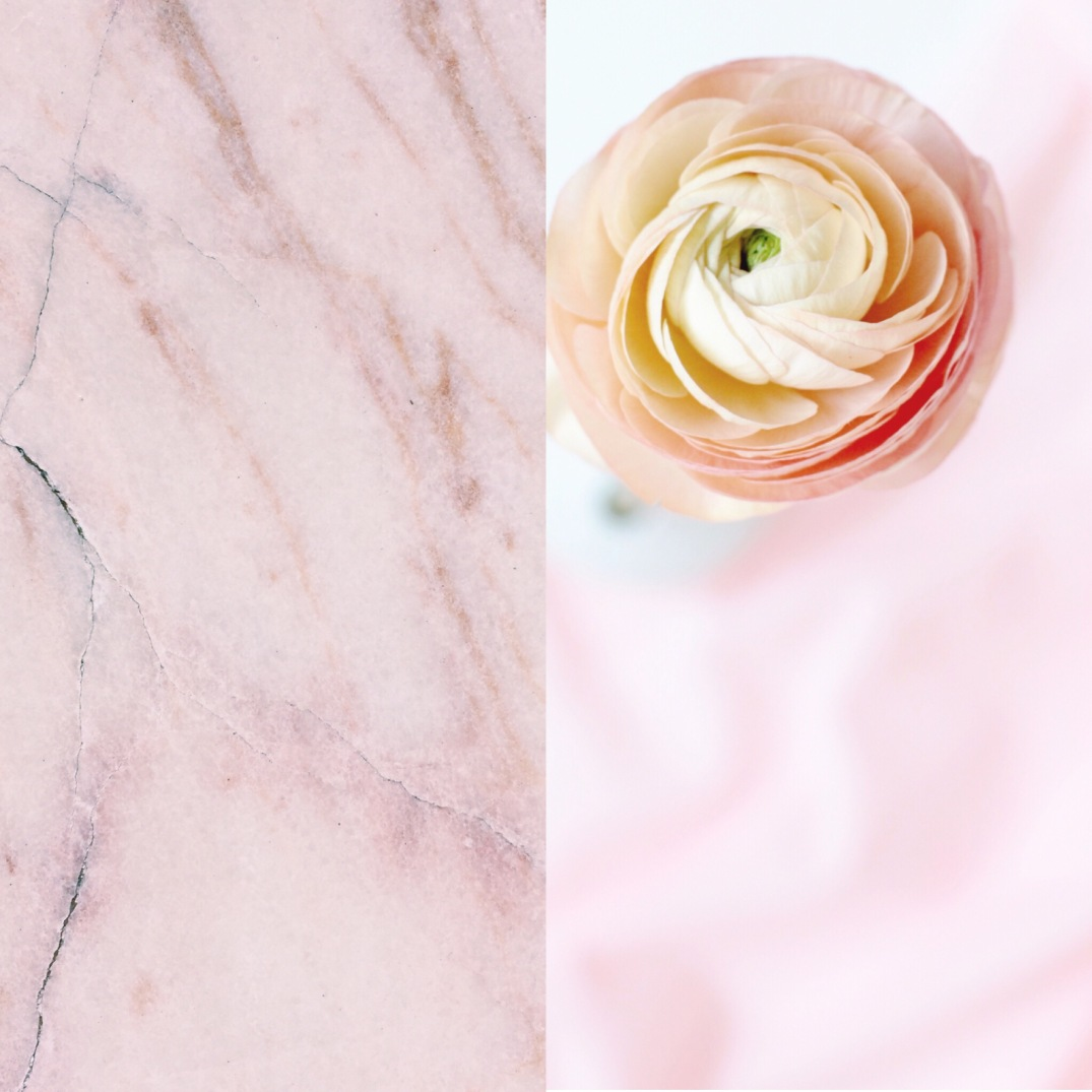 pink marble and salmon colored ranunculus