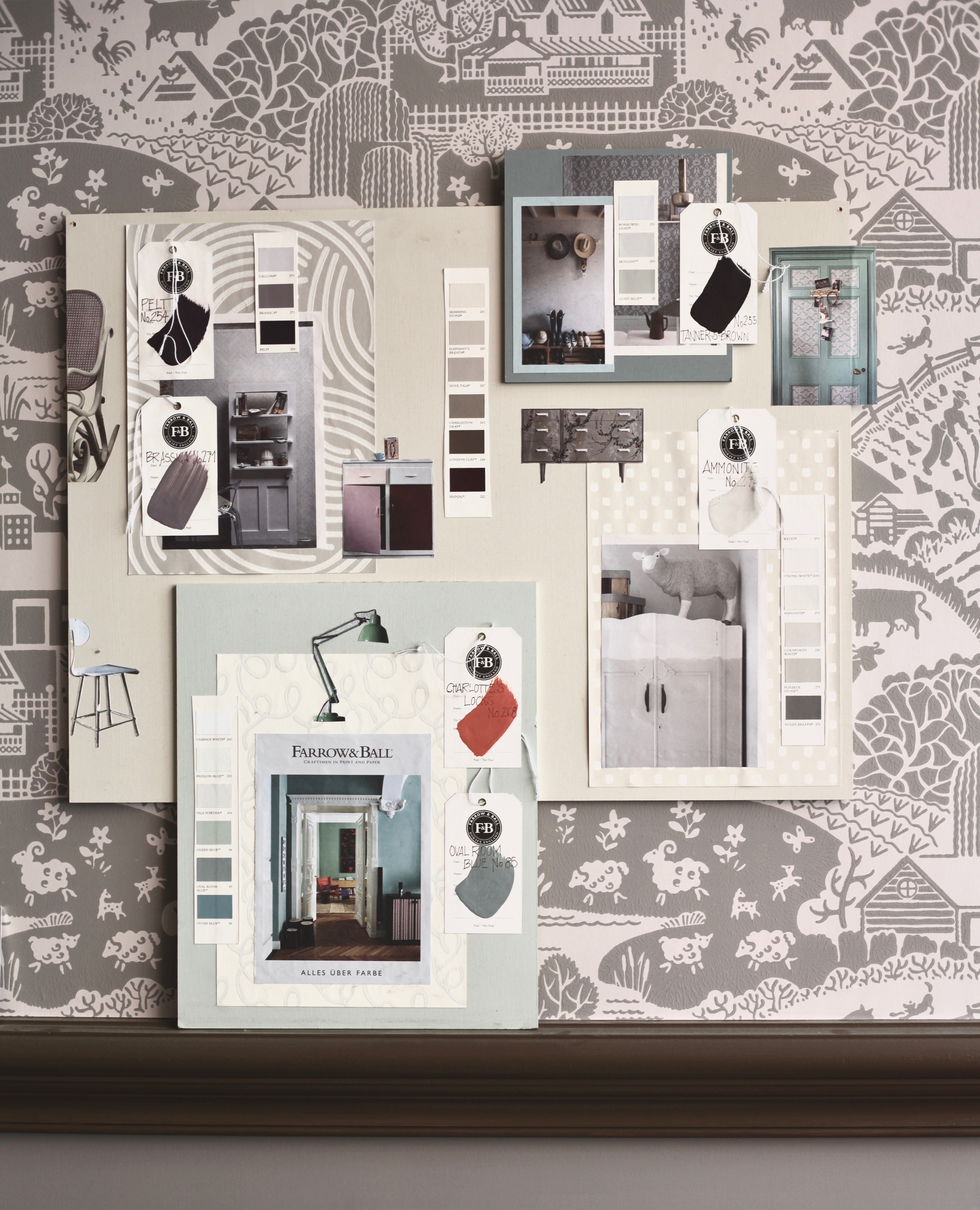 mood board example for color harmony seen at the farrow ball showroom in munich. Black Bedroom Furniture Sets. Home Design Ideas