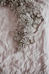 All pink wreath with pink Queen Anne's Lace