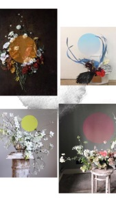 Sculptural floral arrangements - build around an imaginative circle