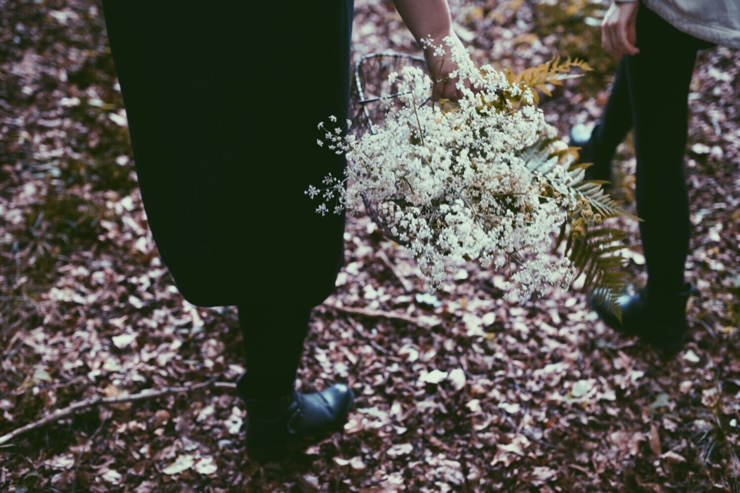 gathering flowers in the woods