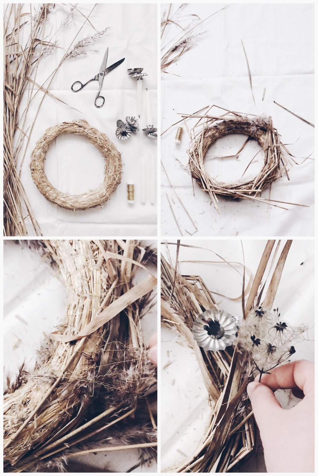 simple wreath DIY - a wreath made of dried flowers