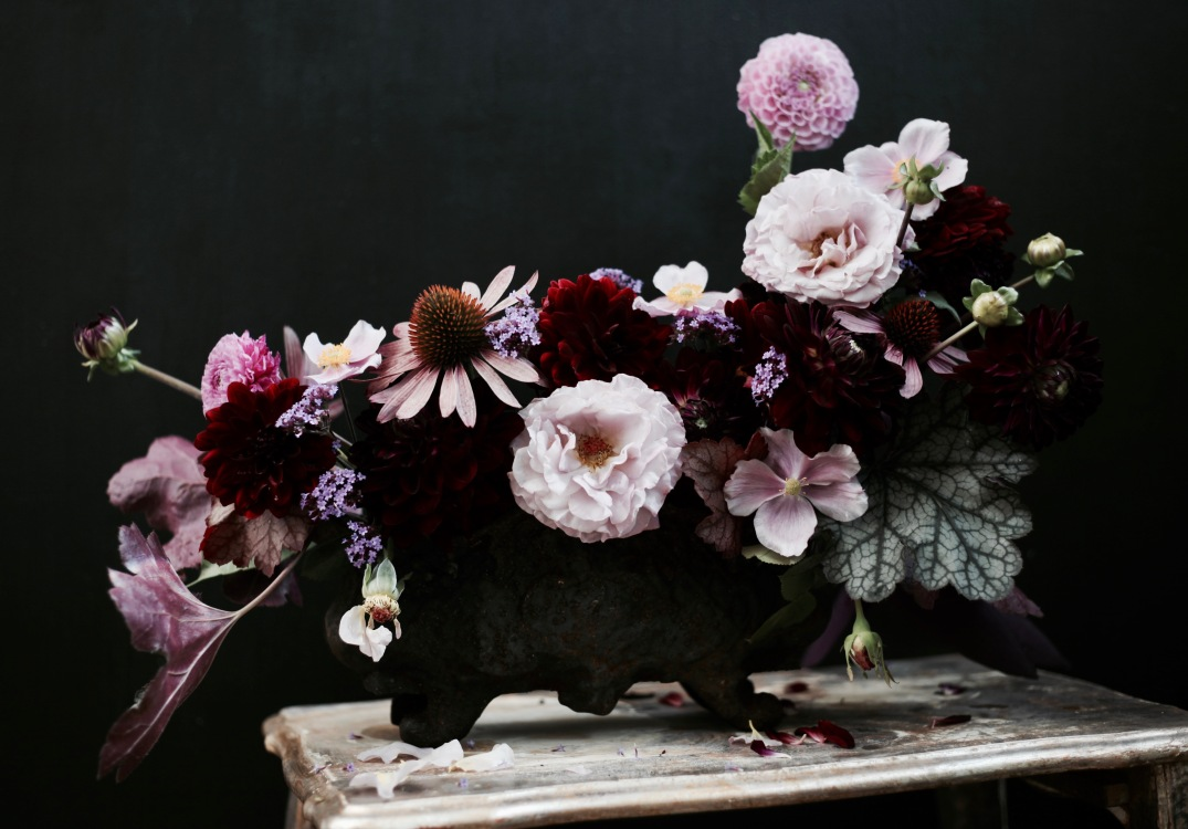 moody fall flower arrangement with roses, dahlias, purple heuchera