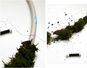 making XL moss wreath with a hula hoop