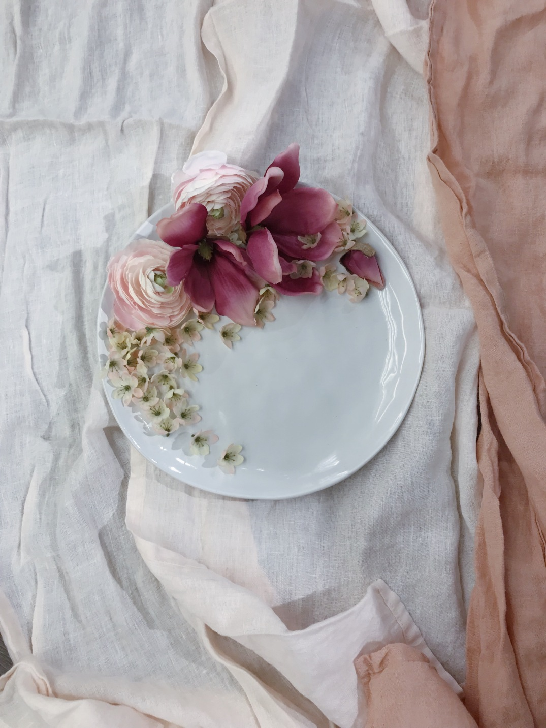 Playing around with faux magnolias and  white ceramics