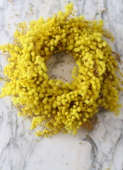 bright yellow DIY mimosa wreath