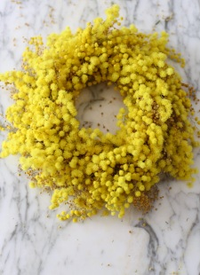 bright yellow DIY mimosa wreath