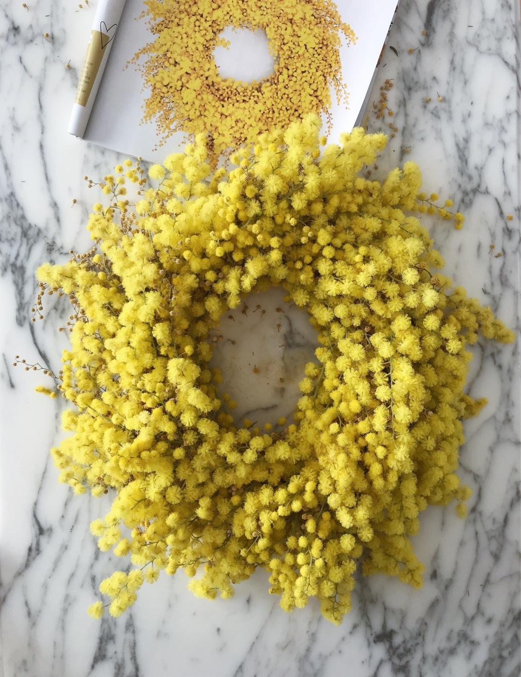 inspired by Cornelia Weber in livingathomexholly, bright yellow mimosa wreath