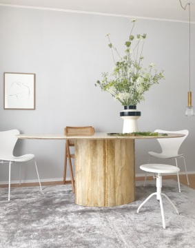 The Poster Club fine art ,Josephine' by Anastasia Benko, marble table, Fritz Hansen Series 7 Monochrome White, Arne Jacobsen chair
